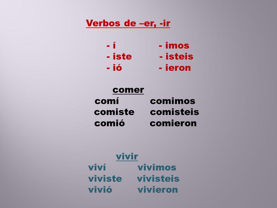 El verbo ver tiene formas regulares pero no tiene acentos: vi vimos viste visteis vio vieron El verbo dar es como ver (es un verbo irregular de -ar) di dimos diste disteis dio dieron