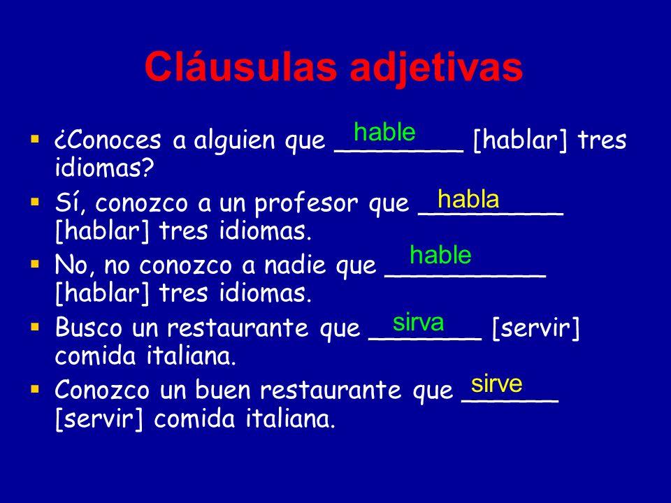 Cláusulas adjetivas ¿Conoces a alguien que ________ [hablar] tres idiomas.