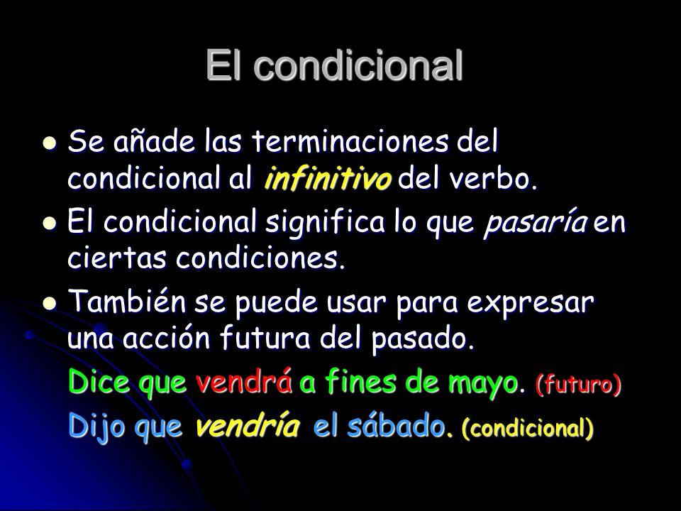 El condicional Se añade las terminaciones del condicional al infinitivo del verbo. Se añade las terminaciones del condicional al infinitivo del verbo.