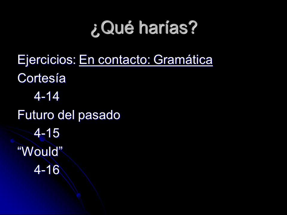 ¿Qué harías? Ejercicios: En contacto: Gramática Cortesía4-14 Futuro del pasado 4-15Would4-16