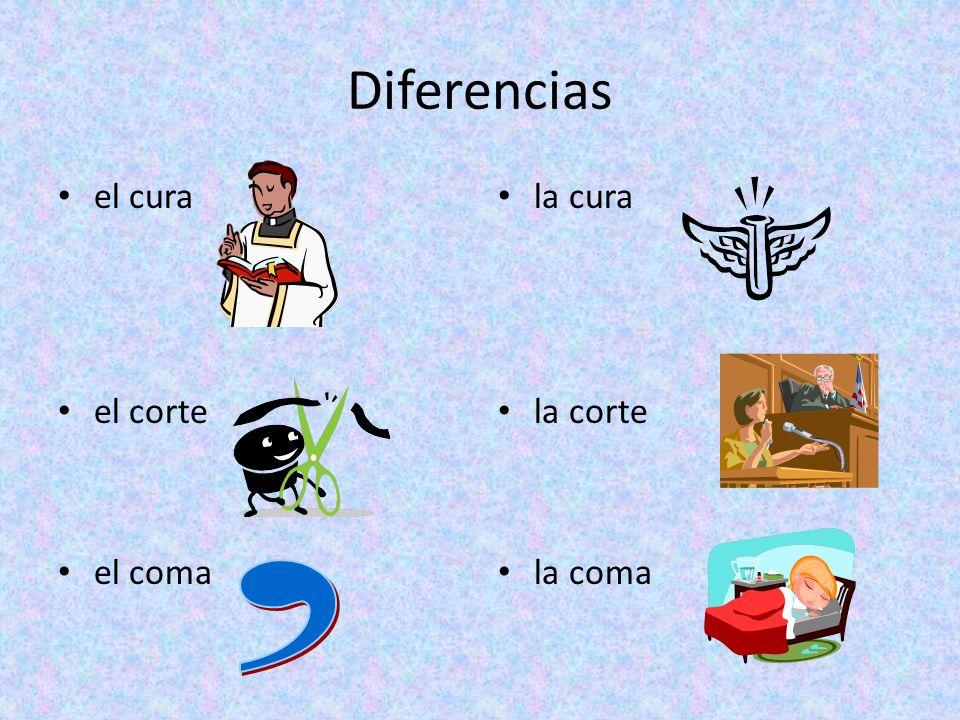 Diferencias el cura el corte el coma la cura la corte la coma