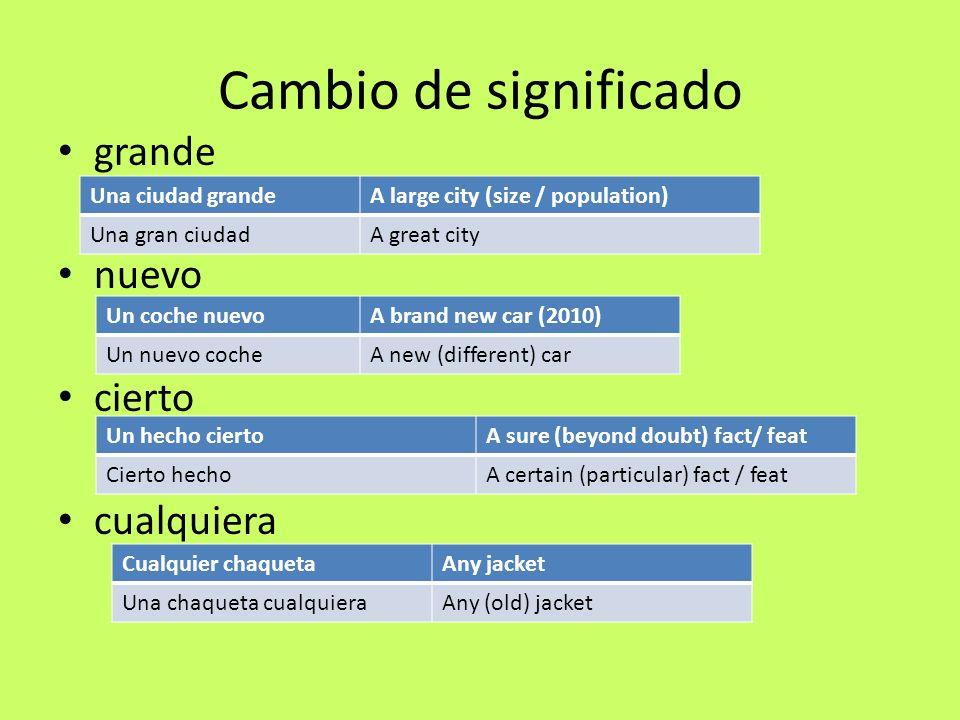 Cambio de significado grande nuevo cierto cualquiera Una ciudad grandeA large city (size / population) Una gran ciudadA great city Un coche nuevoA bra