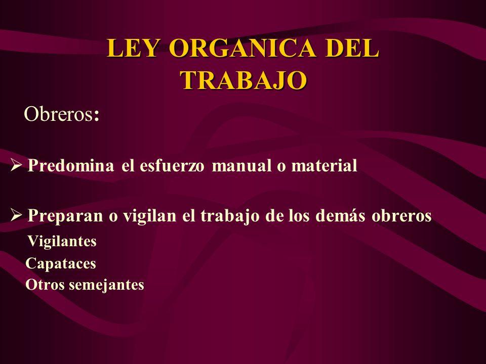 Obreros: Predomina el esfuerzo manual o material Preparan o vigilan el trabajo de los demás obreros Vigilantes Capataces Otros semejantes LEY ORGANICA