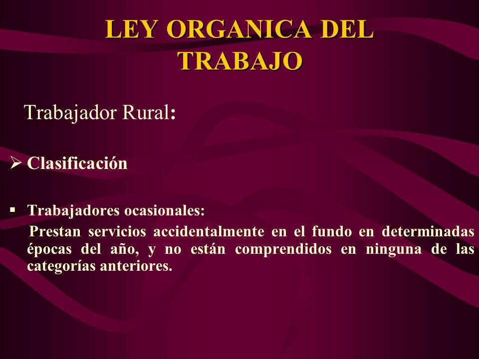 Trabajador Rural: Clasificación Trabajadores ocasionales: Prestan servicios accidentalmente en el fundo en determinadas épocas del año, y no están com