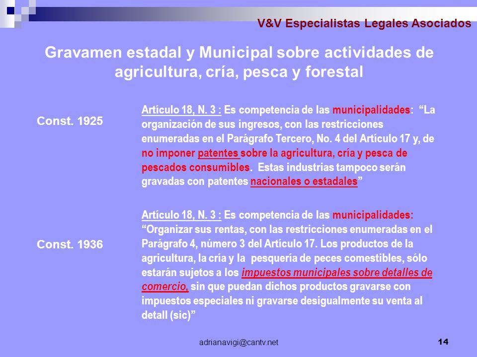 adrianavigi@cantv.net14 V&V Especialistas Legales Asociados Const. 1936 Artículo 18, N. 3 : Es competencia de las municipalidades: La organización de