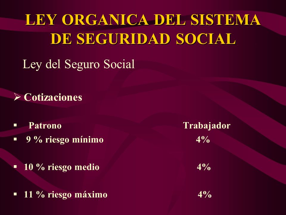 Ley del Seguro Social Cotizaciones Patrono Trabajador 9 % riesgo mínimo 4% 10 % riesgo medio 4% 11 % riesgo máximo 4% LEY ORGANICA DEL SISTEMA DE SEGU