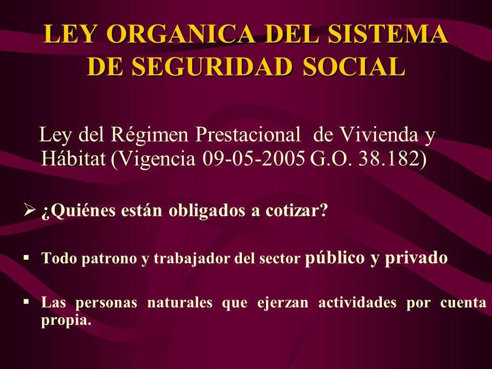 Ley del Régimen Prestacional de Vivienda y Hábitat (Vigencia 09-05-2005 G.O. 38.182) ¿Quiénes están obligados a cotizar? Todo patrono y trabajador del