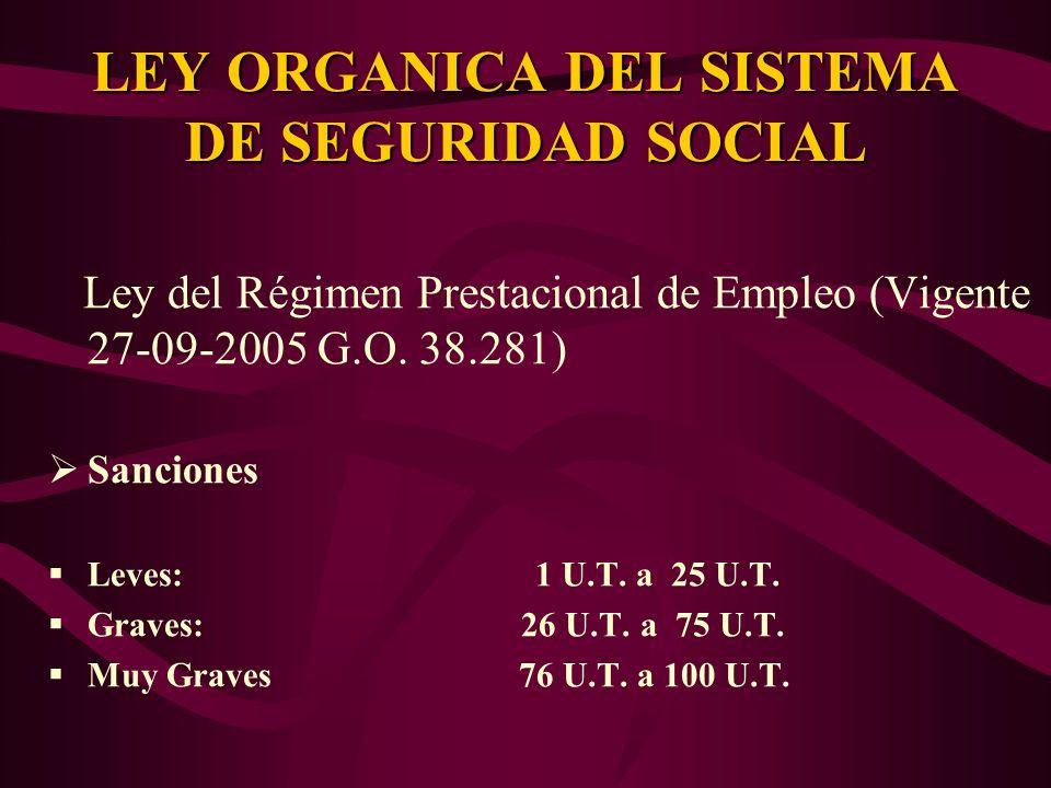Ley del Régimen Prestacional de Empleo (Vigente 27-09-2005 G.O. 38.281) Sanciones Leves: 1 U.T. a 25 U.T. Graves: 26 U.T. a 75 U.T. Muy Graves 76 U.T.