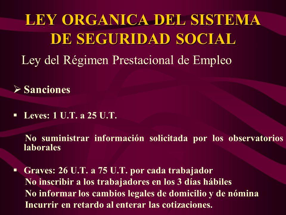 Ley del Régimen Prestacional de Empleo Sanciones Leves: 1 U.T. a 25 U.T. No suministrar información solicitada por los observatorios laborales Graves: