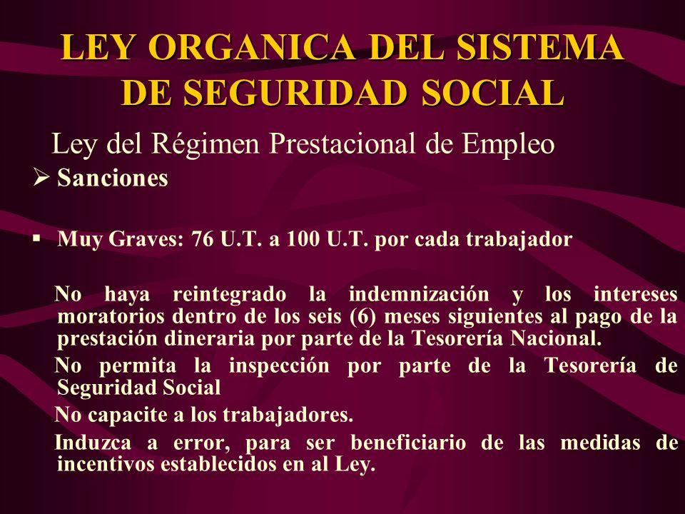Ley del Régimen Prestacional de Empleo Sanciones Muy Graves: 76 U.T. a 100 U.T. por cada trabajador No haya reintegrado la indemnización y los interes