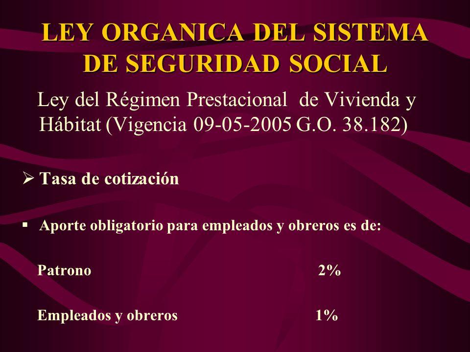 Ley del Régimen Prestacional de Vivienda y Hábitat (Vigencia 09-05-2005 G.O. 38.182) Tasa de cotización Aporte obligatorio para empleados y obreros es