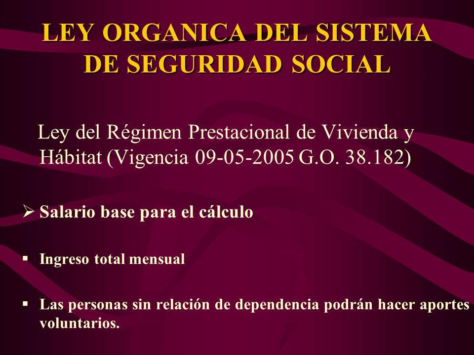 Ley del Régimen Prestacional de Vivienda y Hábitat (Vigencia 09-05-2005 G.O. 38.182) Salario base para el cálculo Ingreso total mensual Las personas s