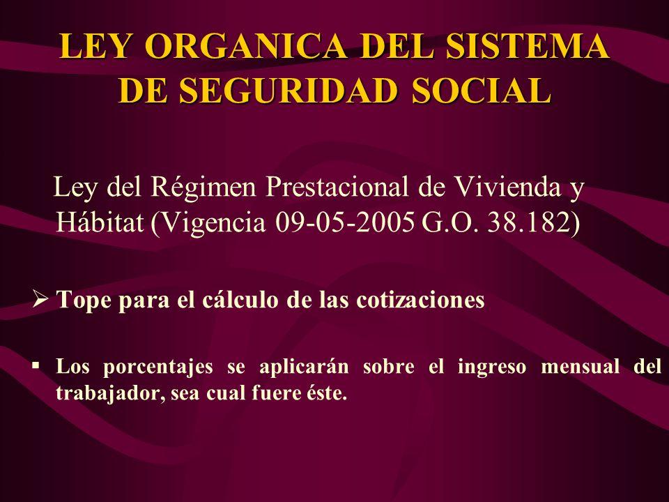 Ley del Régimen Prestacional de Vivienda y Hábitat (Vigencia 09-05-2005 G.O. 38.182) Tope para el cálculo de las cotizaciones Los porcentajes se aplic