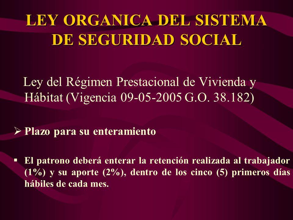 Ley del Régimen Prestacional de Vivienda y Hábitat (Vigencia 09-05-2005 G.O. 38.182) Plazo para su enteramiento El patrono deberá enterar la retención