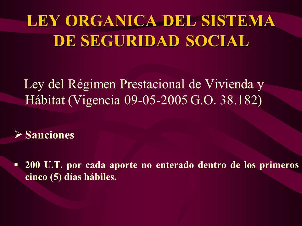 Ley del Régimen Prestacional de Vivienda y Hábitat (Vigencia 09-05-2005 G.O. 38.182) Sanciones 200 U.T. por cada aporte no enterado dentro de los prim