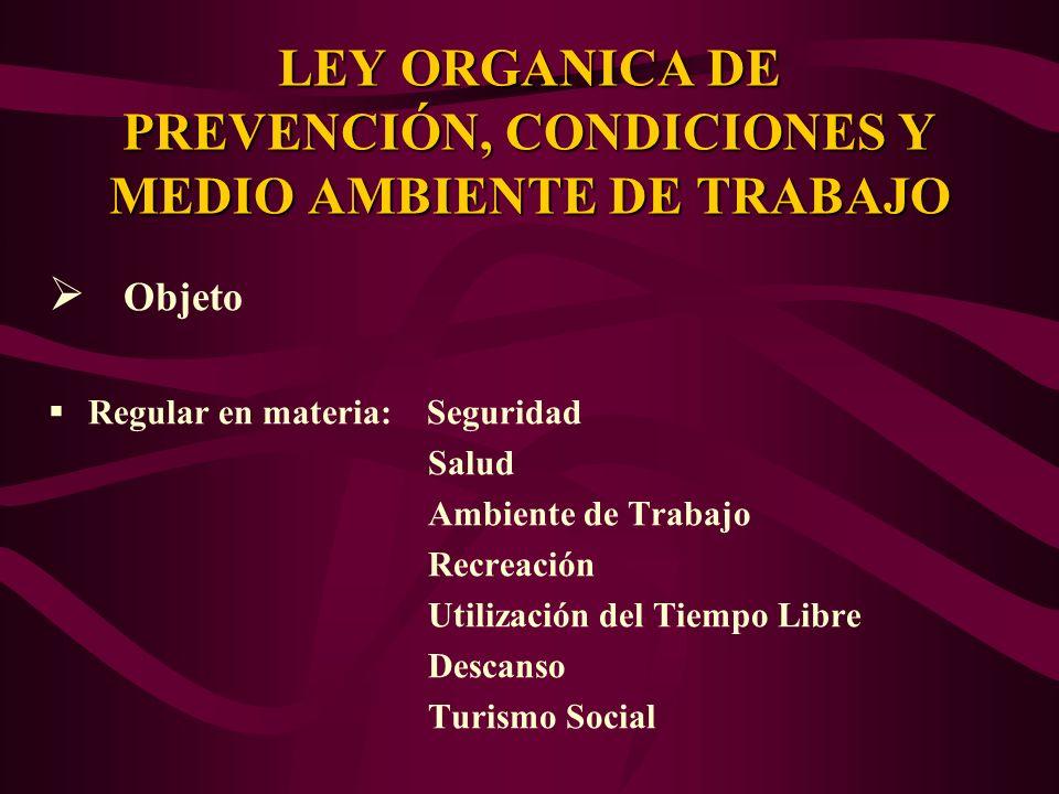 Objeto Regular en materia: Seguridad Salud Ambiente de Trabajo Recreación Utilización del Tiempo Libre Descanso Turismo Social LEY ORGANICA DE PREVENC
