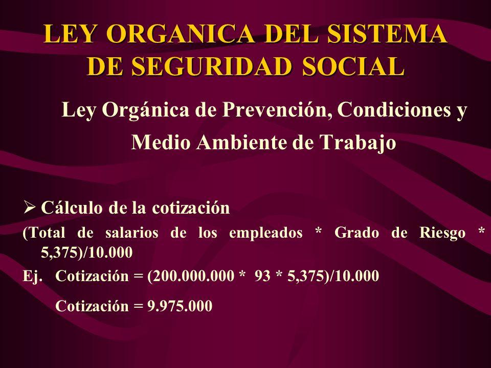 Ley Orgánica de Prevención, Condiciones y Medio Ambiente de Trabajo Cálculo de la cotización (Total de salarios de los empleados * Grado de Riesgo * 5