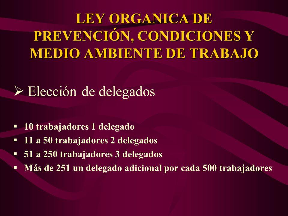 Elección de delegados 10 trabajadores 1 delegado 11 a 50 trabajadores 2 delegados 51 a 250 trabajadores 3 delegados Más de 251 un delegado adicional p