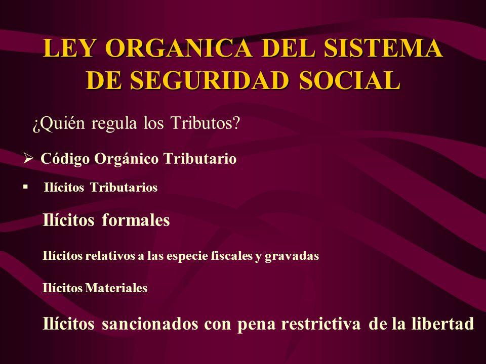 ¿Quién regula los Tributos? Código Orgánico Tributario Ilícitos Tributarios Ilícitos formales Ilícitos relativos a las especie fiscales y gravadas Ilí