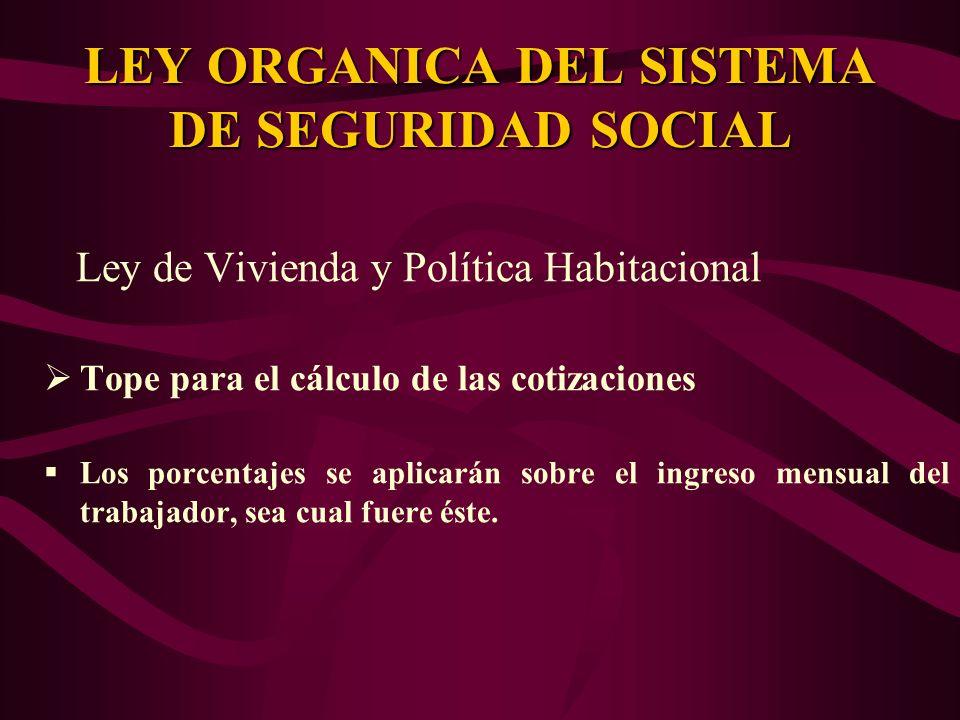 Ley de Vivienda y Política Habitacional Tope para el cálculo de las cotizaciones Los porcentajes se aplicarán sobre el ingreso mensual del trabajador,