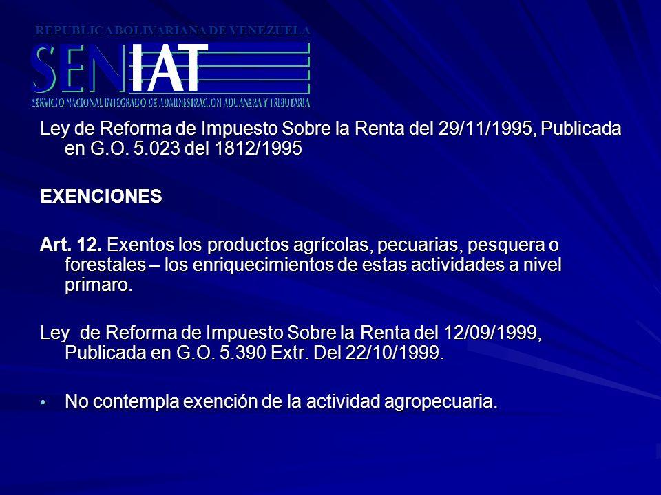 Ley de Reforma de Impuesto Sobre la Renta del 29/11/1995, Publicada en G.O. 5.023 del 1812/1995 EXENCIONES Art. 12. Exentos los productos agrícolas, p