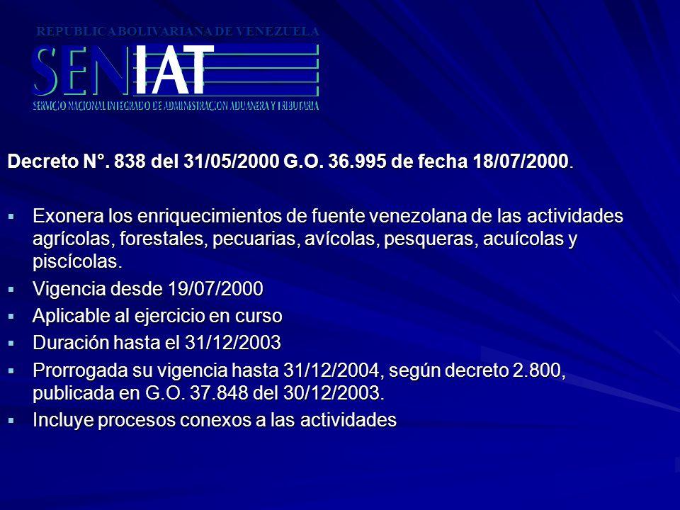 Decreto N°. 838 del 31/05/2000 G.O. 36.995 de fecha 18/07/2000. Exonera los enriquecimientos de fuente venezolana de las actividades agrícolas, forest