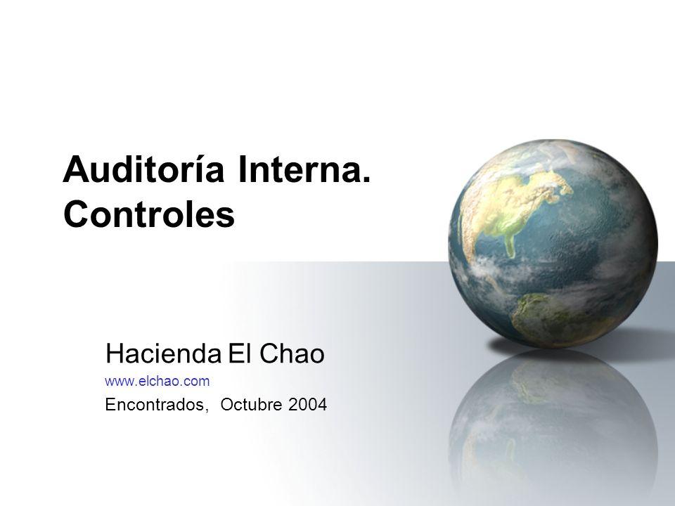 Auditoría Interna. Controles Hacienda El Chao www.elchao.com Encontrados, Octubre 2004