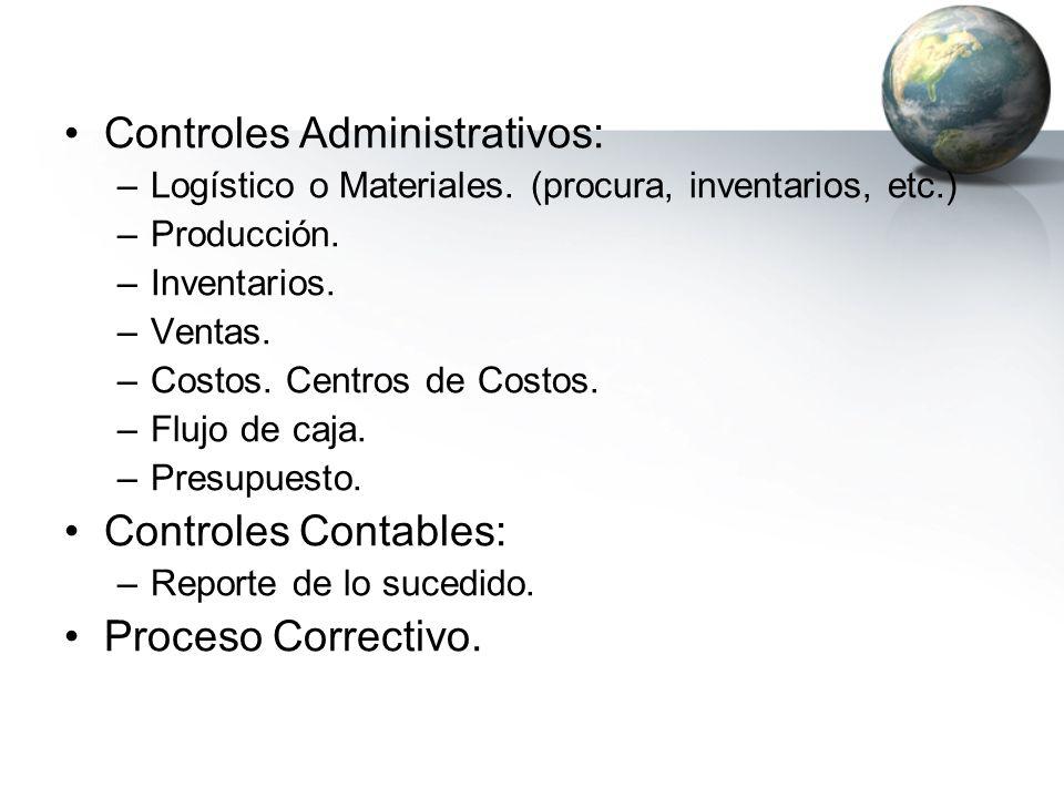 Controles Administrativos: –Logístico o Materiales. (procura, inventarios, etc.) –Producción. –Inventarios. –Ventas. –Costos. Centros de Costos. –Fluj
