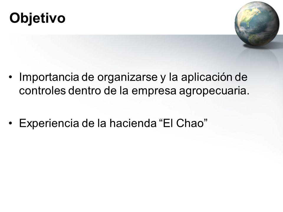 Objetivo Importancia de organizarse y la aplicación de controles dentro de la empresa agropecuaria. Experiencia de la hacienda El Chao
