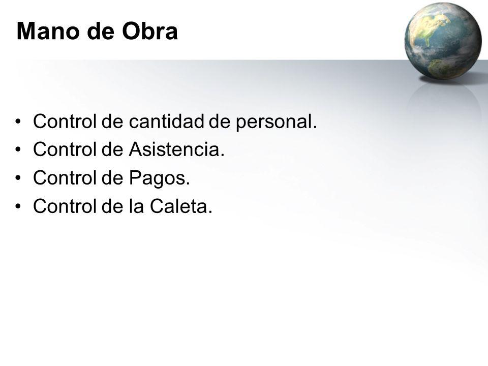 Mano de Obra Control de cantidad de personal. Control de Asistencia. Control de Pagos. Control de la Caleta.
