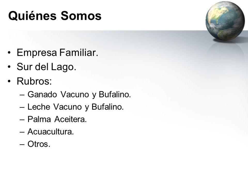 Quiénes Somos Empresa Familiar. Sur del Lago. Rubros: –Ganado Vacuno y Bufalino. –Leche Vacuno y Bufalino. –Palma Aceitera. –Acuacultura. –Otros.