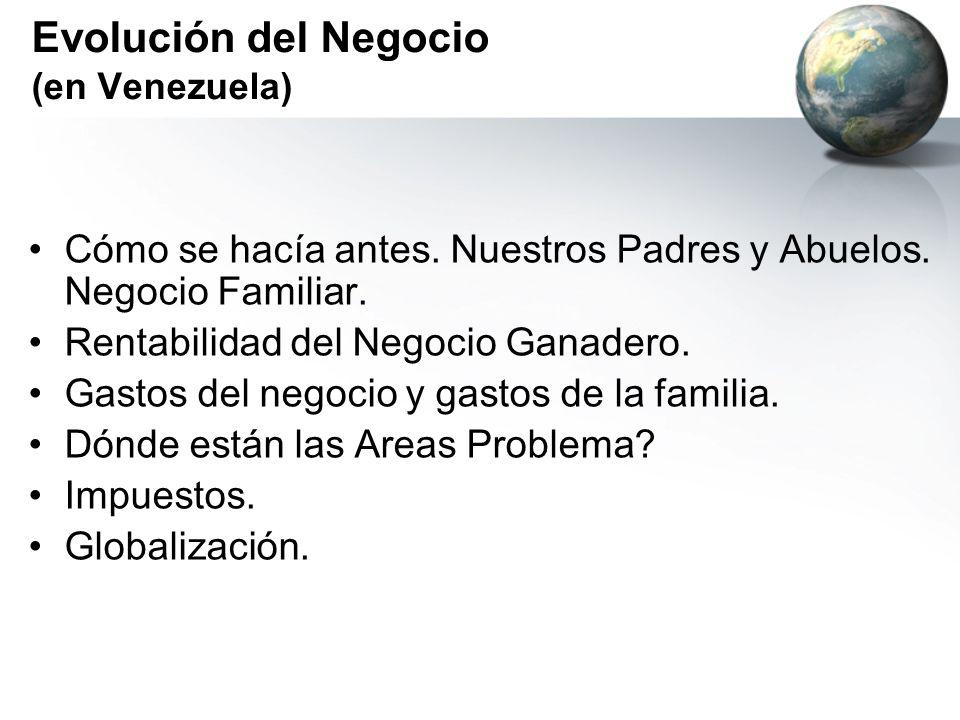 Evolución del Negocio (en Venezuela) Cómo se hacía antes. Nuestros Padres y Abuelos. Negocio Familiar. Rentabilidad del Negocio Ganadero. Gastos del n