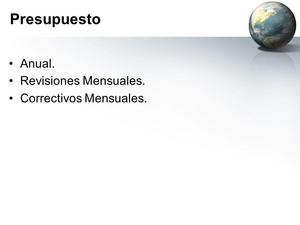 Presupuesto Anual. Revisiones Mensuales. Correctivos Mensuales.