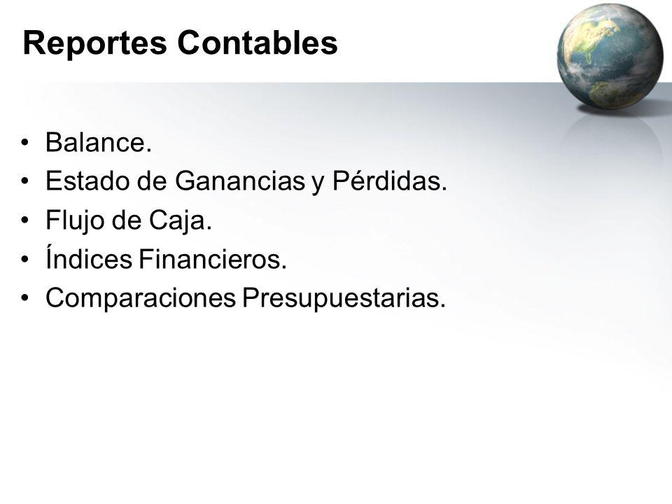 Balance. Estado de Ganancias y Pérdidas. Flujo de Caja. Índices Financieros. Comparaciones Presupuestarias.