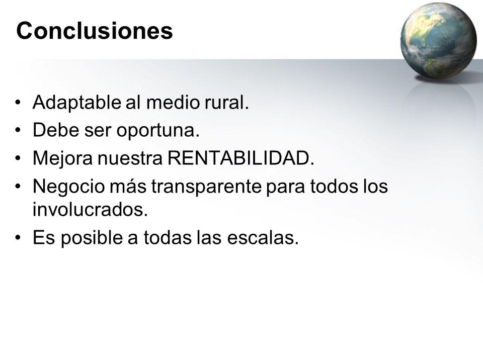 Conclusiones Adaptable al medio rural. Debe ser oportuna. Mejora nuestra RENTABILIDAD. Negocio más transparente para todos los involucrados. Es posibl