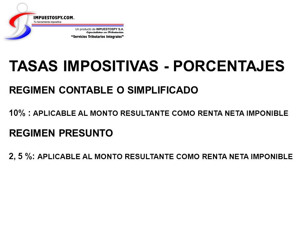 TASAS IMPOSITIVAS - PORCENTAJES REGIMEN CONTABLE O SIMPLIFICADO 10% : APLICABLE AL MONTO RESULTANTE COMO RENTA NETA IMPONIBLE REGIMEN PRESUNTO 2, 5 %: