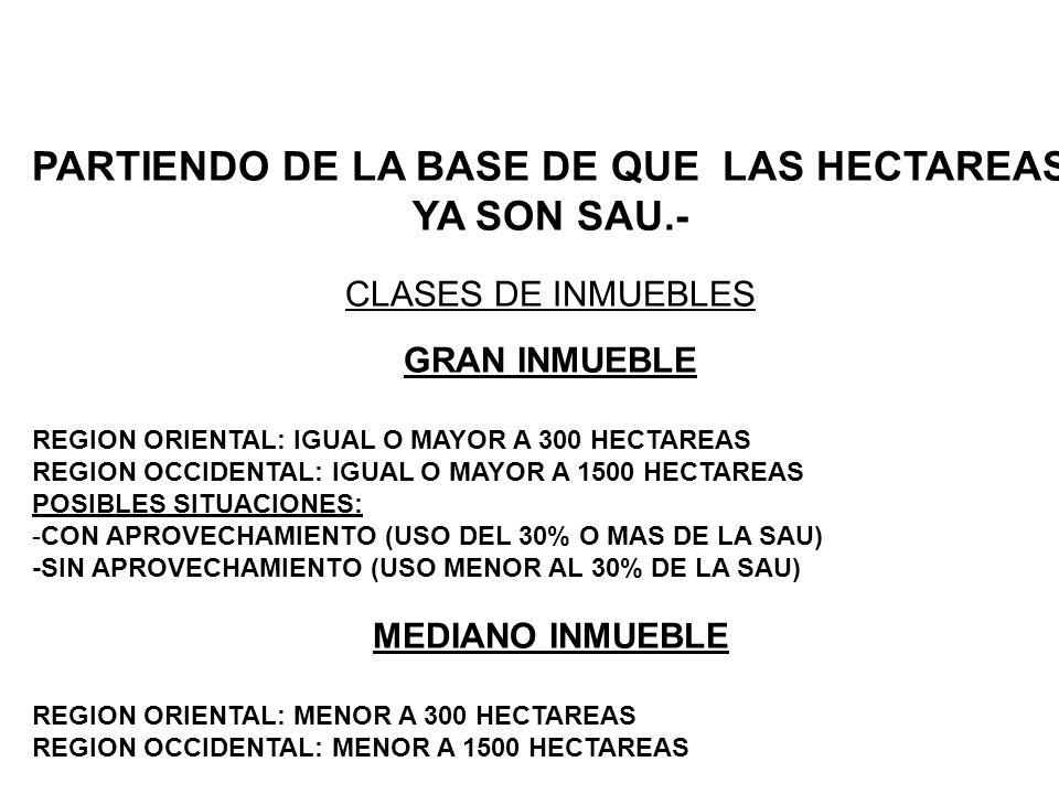 PARTIENDO DE LA BASE DE QUE LAS HECTAREAS YA SON SAU.- CLASES DE INMUEBLES GRAN INMUEBLE REGION ORIENTAL: IGUAL O MAYOR A 300 HECTAREAS REGION OCCIDEN