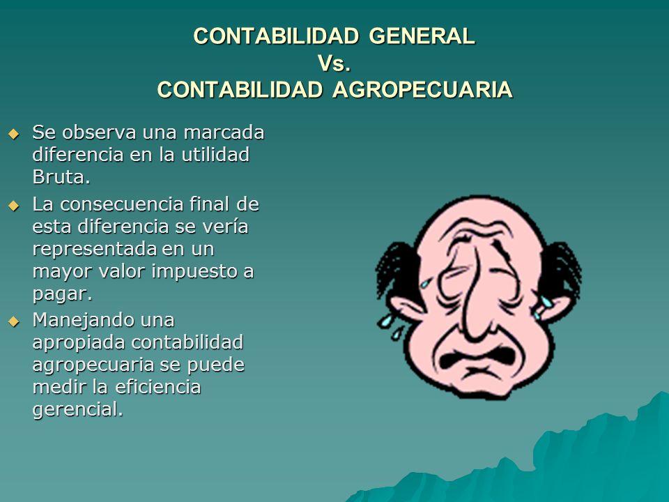 CONTABILIDAD GENERAL Vs. CONTABILIDAD AGROPECUARIA Se observa una marcada diferencia en la utilidad Bruta. Se observa una marcada diferencia en la uti