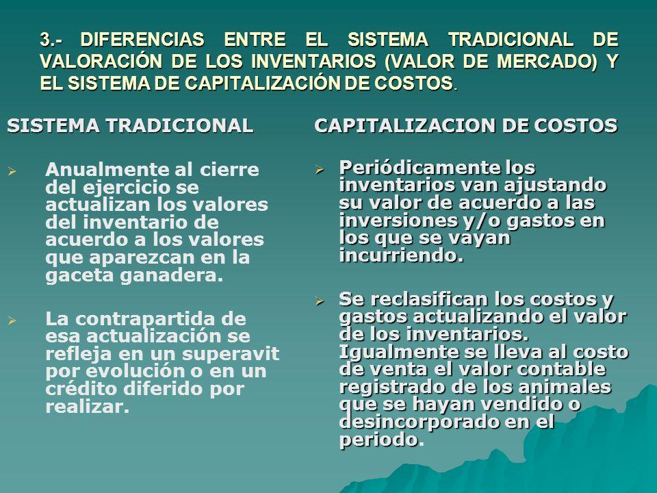 3.- DIFERENCIAS ENTRE EL SISTEMA TRADICIONAL DE VALORACIÓN DE LOS INVENTARIOS (VALOR DE MERCADO) Y EL SISTEMA DE CAPITALIZACIÓN DE COSTOS. SISTEMA TRA