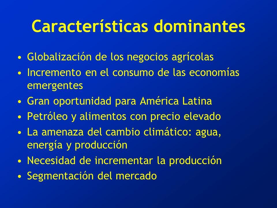 Características dominantes Globalización de los negocios agrícolas Incremento en el consumo de las economías emergentes Gran oportunidad para América Latina Petróleo y alimentos con precio elevado La amenaza del cambio climático: agua, energía y producción Necesidad de incrementar la producción Segmentación del mercado