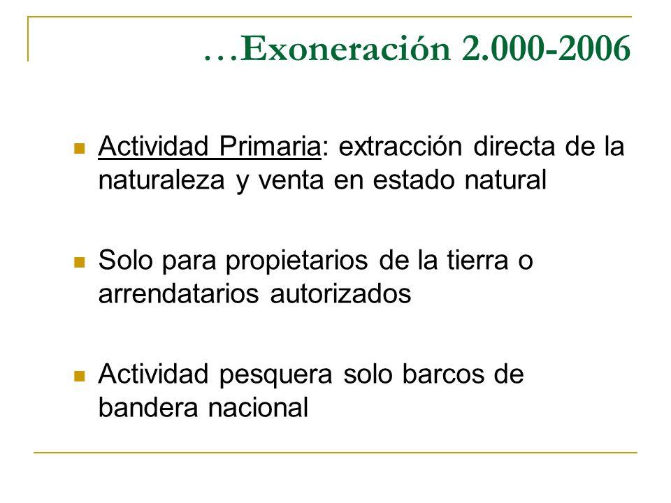 … Exoneración 2.000-2006 Actividad Primaria: extracción directa de la naturaleza y venta en estado natural Solo para propietarios de la tierra o arren