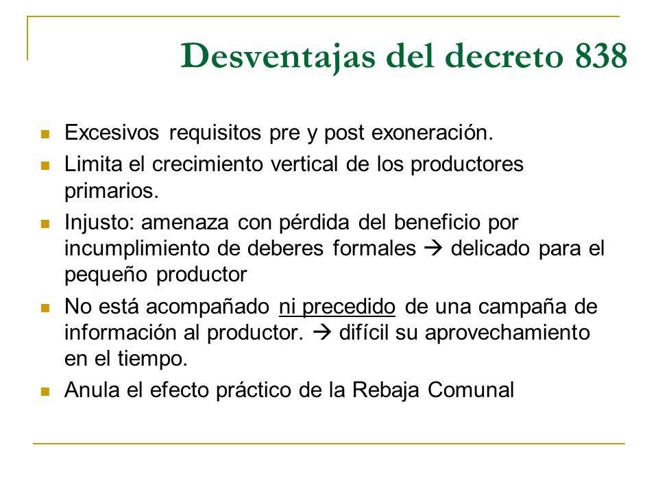 Desventajas del decreto 838 Excesivos requisitos pre y post exoneración. Limita el crecimiento vertical de los productores primarios. Injusto: amenaza