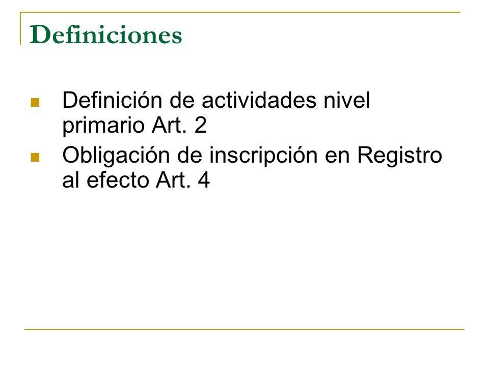 Definiciones Definición de actividades nivel primario Art. 2 Obligación de inscripción en Registro al efecto Art. 4