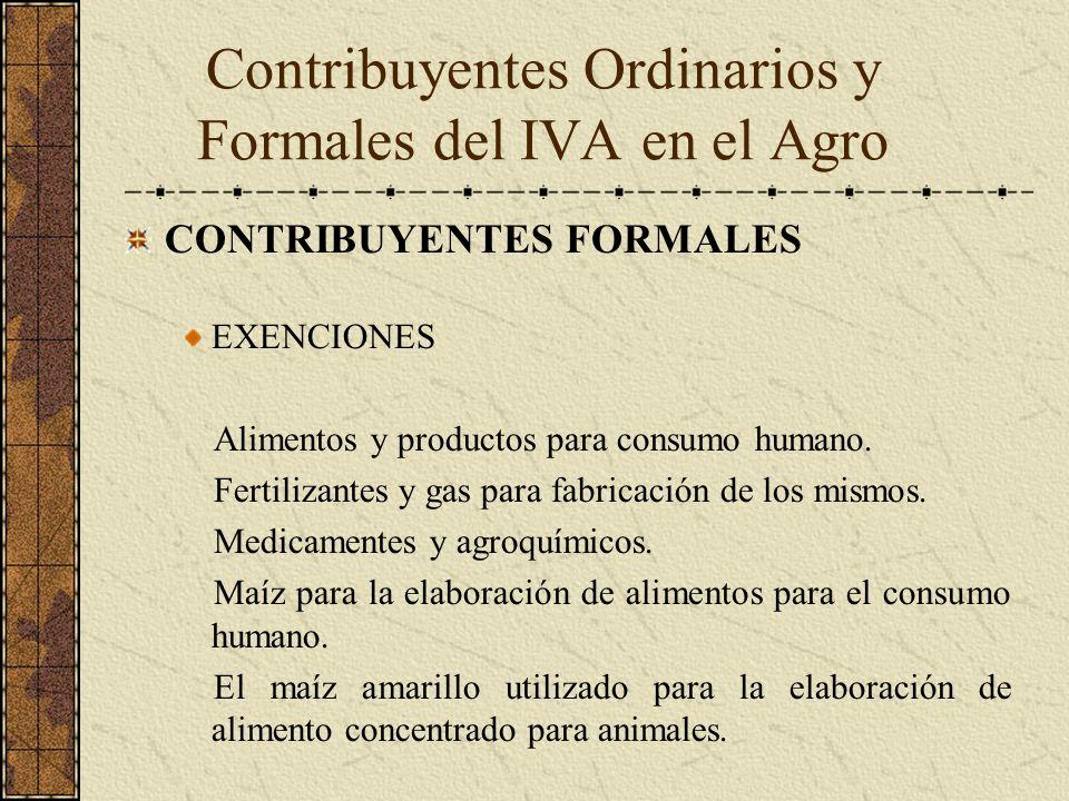 CONTRIBUYENTES FORMALES EXENCIONES Alimentos y productos para consumo humano. Fertilizantes y gas para fabricación de los mismos. Medicamentes y agroq