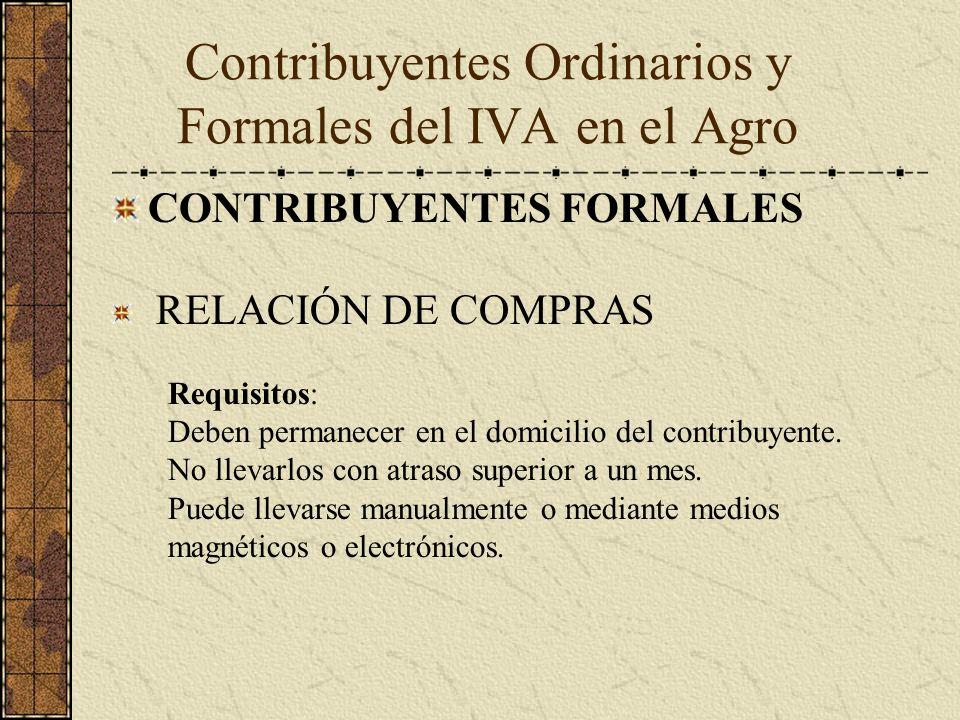 CONTRIBUYENTES FORMALES RELACIÓN DE COMPRAS Requisitos: Deben permanecer en el domicilio del contribuyente. No llevarlos con atraso superior a un mes.