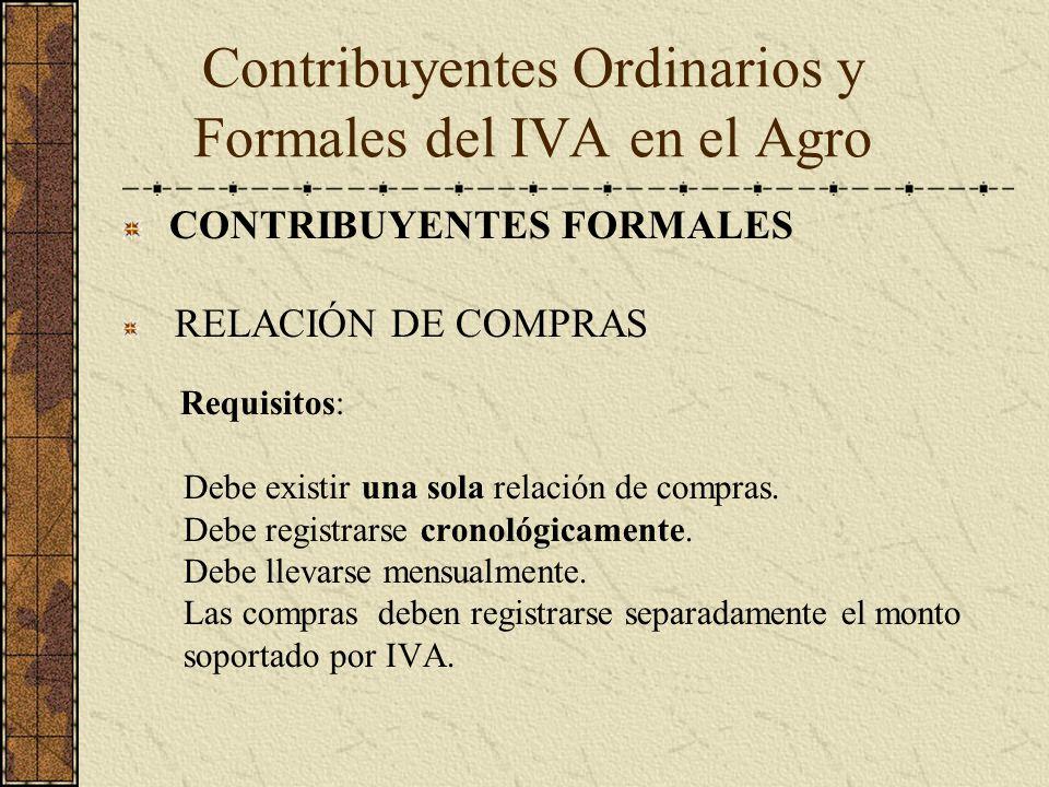 CONTRIBUYENTES FORMALES RELACIÓN DE COMPRAS Requisitos: Debe existir una sola relación de compras. Debe registrarse cronológicamente. Debe llevarse me