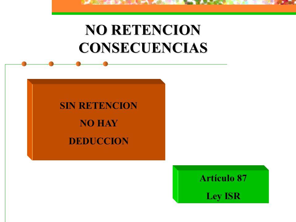 NO RETENCION CONSECUENCIAS SIN RETENCION NO HAY DEDUCCION Artículo 87 Ley ISR