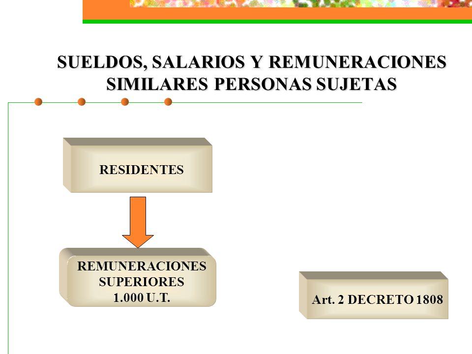 SUELDOS, SALARIOS Y REMUNERACIONES SIMILARES PERSONAS SUJETAS RESIDENTES REMUNERACIONES SUPERIORES 1.000 U.T. Art. 2 DECRETO 1808