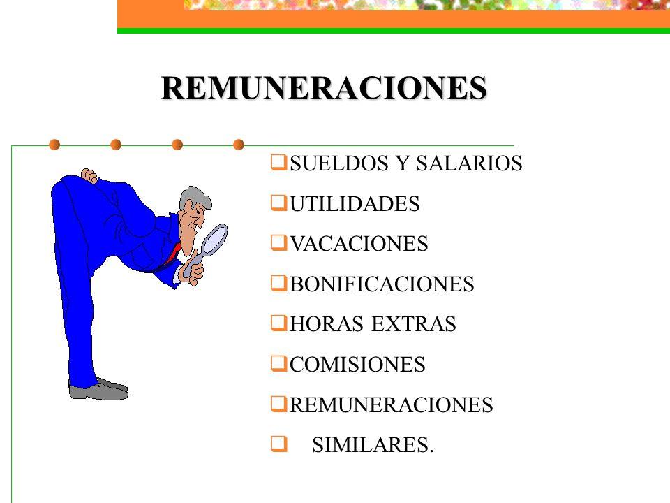 REMUNERACIONES SUELDOS Y SALARIOS UTILIDADES VACACIONES BONIFICACIONES HORAS EXTRAS COMISIONES REMUNERACIONES SIMILARES.