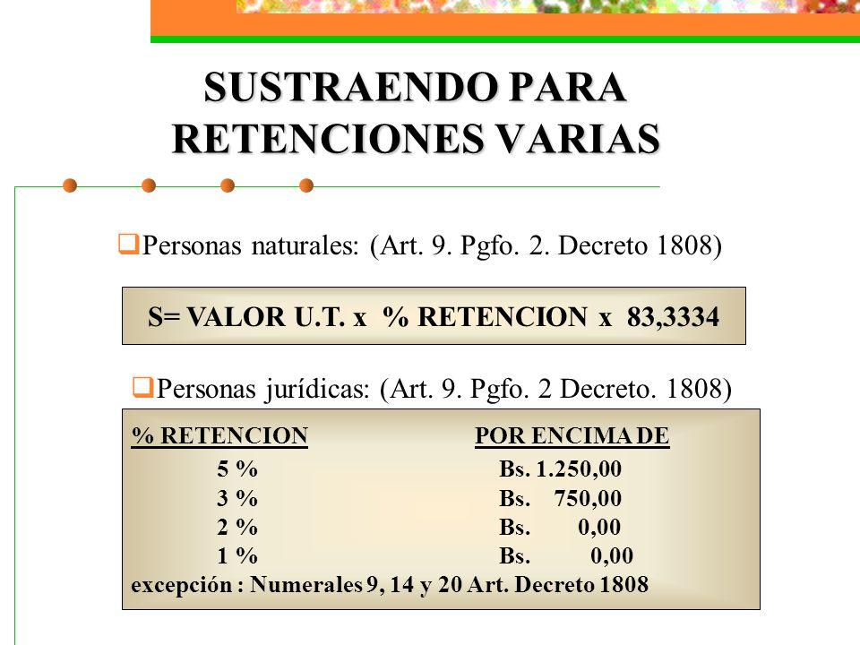 SUSTRAENDO PARA RETENCIONES VARIAS Personas naturales: (Art. 9. Pgfo. 2. Decreto 1808) S= VALOR U.T. x % RETENCION x 83,3334 Personas jurídicas: (Art.